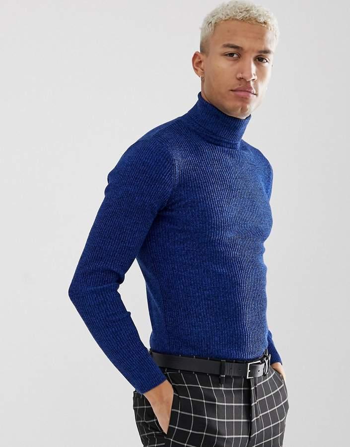 0395155defa Design DESIGN muscle fit ribbed roll neck jumper in colbalt twist