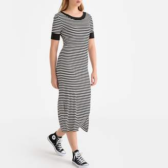 La Redoute Collections Midi Bodycon T-Shirt Dress in Striped Print