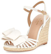 Kate Spade Biana Grosgrain Bow Wedge Sandal, Ivory