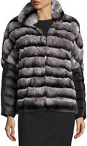 Gorski Rabbit Fur Jacket w/ Removable Down Sleeves, Charcoal