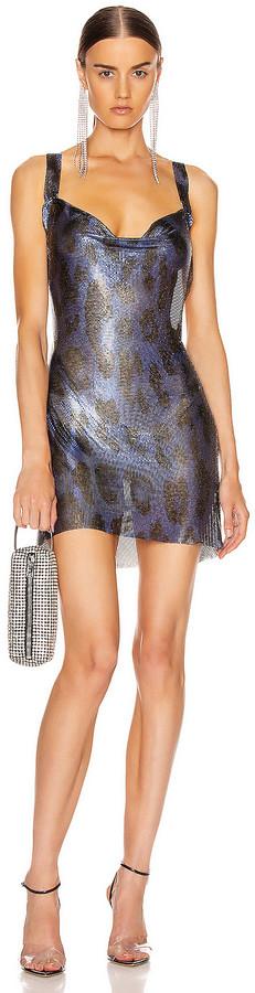 Fannie Schiavoni for FWRD Hailey Metal Mesh Dress in Blue Leopard | FWRD