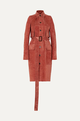 Rick Owens Forked Suede Trench Coat - Pink