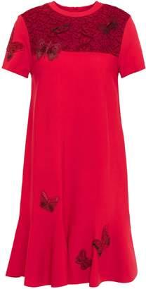 Valentino Lace-paneled Embellished Stretch-knit Mini Dress