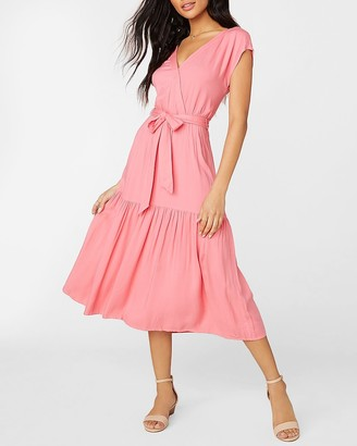 Express Holding On Belted Midi Dress