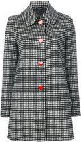 Love Moschino vichy single breasted coat - women - Polyamide/Viscose/Wool/other fibers - 38