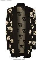 Forever Women's Skull Print Knitted Open Cardigan (ML-10/12, Black)