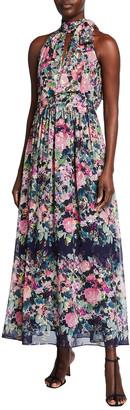 Shoshanna Donata Lavender Bloom Long Halter Dress