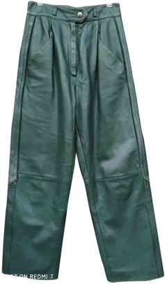 Christian Dior Green Leather Trousers