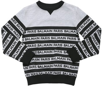 Balmain Striped Logo Print Cotton Sweatshirt