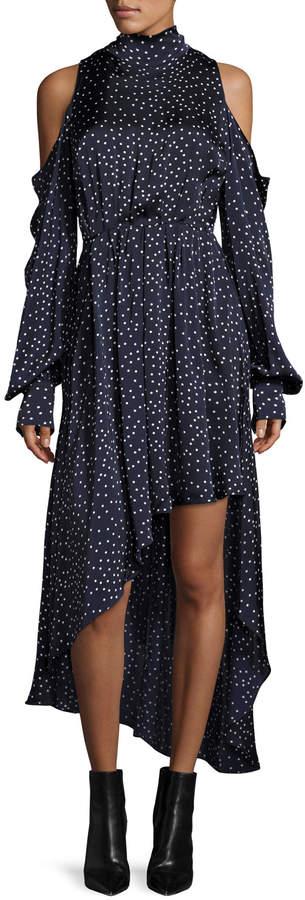 Magda Butrym Rennes Cold-Shoulder Open-Back High-Low Silk Dress, Navy/White Dot
