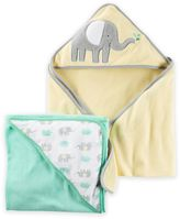 Carter's 2-Pack Elephant Hooded towels in Yellow/Green