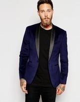 Asos Skinny Blazer In Velvet