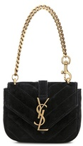 Saint Laurent Mini Collège Chain Wallet Quilted Suede Handbag