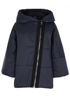 Crea Concept Navy Hooded Quilted Shell Coat