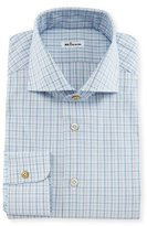 Kiton Check Woven Dress Shirt, Blue