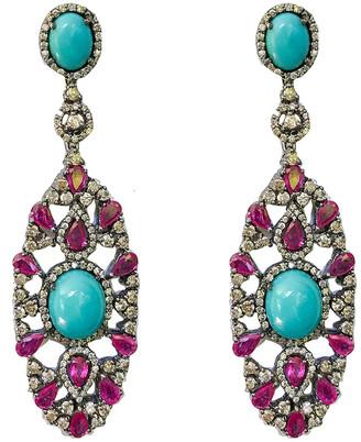 Arthur Marder Fine Jewelry 14K & Silver 6.00 Ct. Tw. Diamond & Ruby Turquiose Earrings