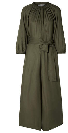 Apiece Apart Isla Belted Voile Jumpsuit - Army green