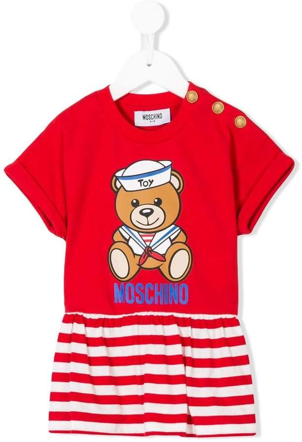 Moschino Kids teddy striped peplum top