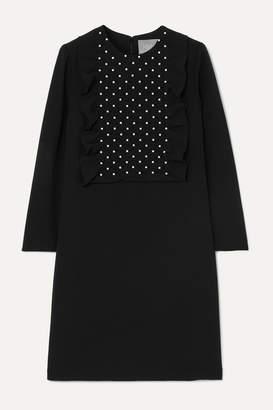 Lela Rose Faux Pearl-embellished Smocked Crepe Dress - Black
