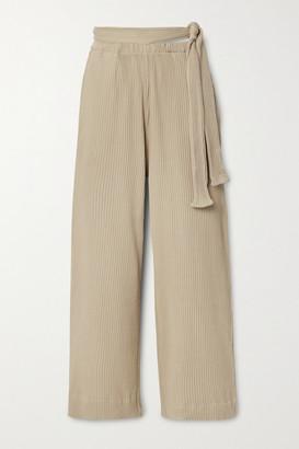 Base Range Lhasa Ribbed Organic Cotton-jersey Wide-leg Pants - Ecru