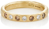 Malcolm Betts Women's Mixed-Diamond Band-GOLD, BROWN, NO COLOR