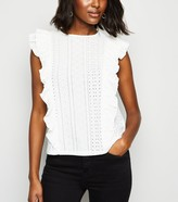 New Look Broderie Ruffle Trim Sleeveless Top
