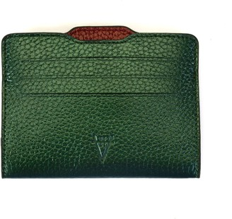 Atelier Hiva Double Card Holder Metallic Green & Metallic Burgundy