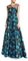 Sachin + Babi Barbara Cap-Sleeve Embroidered Jacquard Gown, Blue Topaz