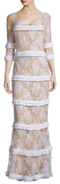 Tracy Reese Lace Tiered Fringe Gown