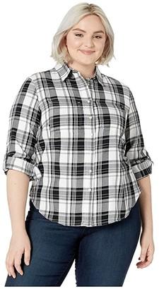 Lauren Ralph Lauren Plus Size Classic Cotton Shirt (Polo Black/White) Women's Clothing