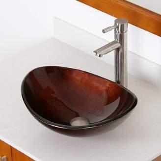 Elite Hand Painted Glass Oval Vessel Bathroom Sink Sink Finish: Dark Bronze