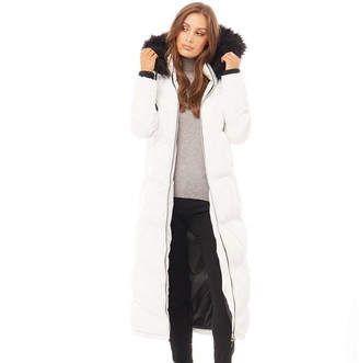 Brave Soul Womens Marcella Long Padded Jacket White