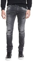 Pierre Balmain Distressed Slim-Fit Biker Jeans, Black Denim