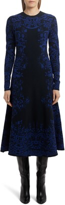 Valentino Delft Jacquard Long Sleeve Midi Sweater Dress