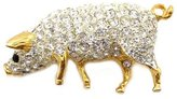 PYNK JEWELLERY Gold Plated & Swarovski Crystal Pig Brooch