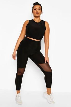 boohoo Plus Soft Touch Mesh Cut Out Gym Leggings