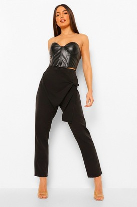 boohoo Draped Tie Side Slim Fit Trouser