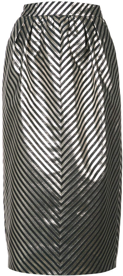 Monique Lhuillier metallic striped skirt