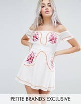 Glamorous Petite Off Shoulder Embroidered Folk Dress