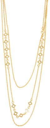 18k Gold Plated Cutout 3 Row Layer Necklace