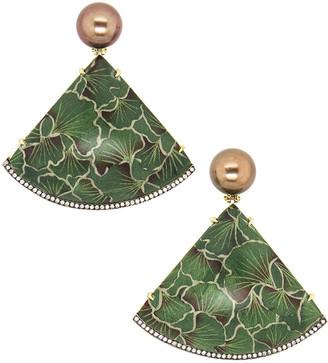 Silvia Furmanovich 18k Marquetry Gingko Leaf Earrings