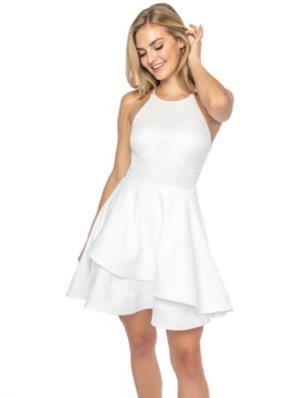 B. Darlin Juniors' Lace-Bodice A-Line Dress
