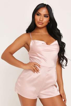 I SAW IT FIRST Nude Satin Cowl Neck Playsuit