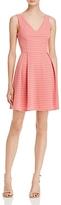 Aqua Stripe Mesh Texture Pleat Dress - 100% Exclusive