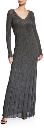 M Missoni Unito Metallic V-Neck Long-Sleeve Dress