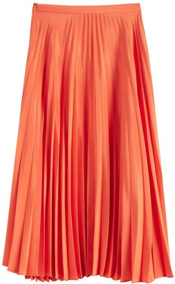 Chinti and Parker Orange Pleated Crepe De Chine Midi Skirt