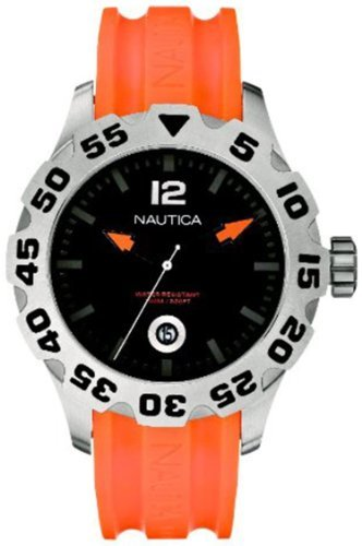 Nautica Men's N14603G BFD 100 Date Orange and Black Watch