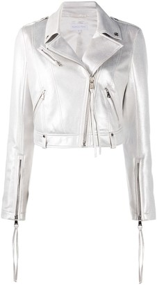 Patrizia Pepe Metallic Faux-Leather Jacket