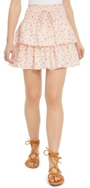 BeBop Juniors' Printed Tiered Eyelet Mini Skirt