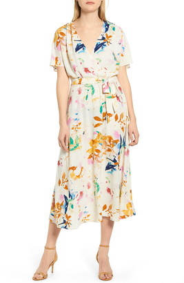 Chaus Bohemian Bouquet Faux Wrap Midi Dress